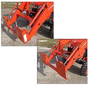 Worksaver Adapters Interface with Kubota Loaders to allow skid steer attachments.