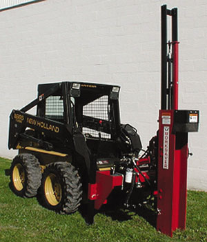 Self-contained, skid steer mounted hydraulic post drivers.