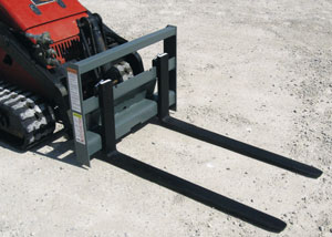 Mini skid steer pallet forks.