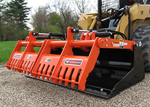 Sweep action material bucket for skid steers.