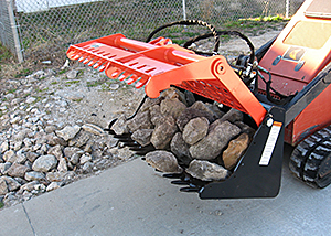 "42"" SARG (Sweep Action Rock Grapple) for mini skid steers / compact tool carriers."
