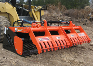 "42"" Sweep Action Rock Grapple for mini skid steers."