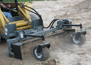 20 Series Powered Landscape Rakes for Skid Steers up to 65 HP.