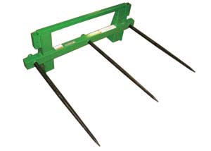 Integrated-frame bale spears.