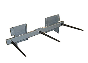 Skid steer triple hay bale spear for square bales.
