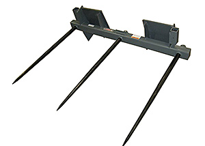Skid steer triple bale spear for large square bales.