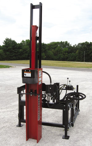 Front loader mounted HPD-16 and Q-Series hydraulic post drivers.