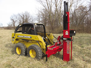 Skid steer mounted hydraulic post drivers for fencing