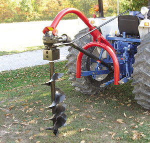 Worksaver Model 500 standard duty 3-pt post hole digger adapts to most tractors.