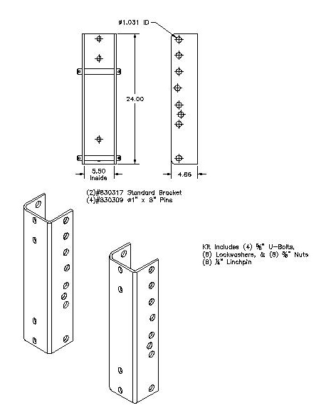 Optional bolt-on bracket model 830345