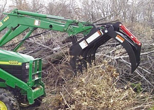 Compact grapple rake for compact tractors and skid steers.