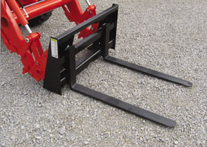 Pallet forks for compact tractors with a front loader.