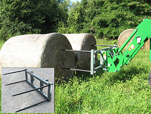 Dual bale handler for front loaders.
