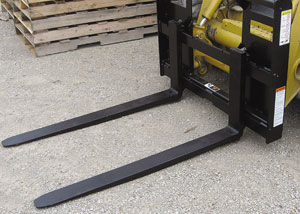Pallet forks for skid steers or tractor front loaders.