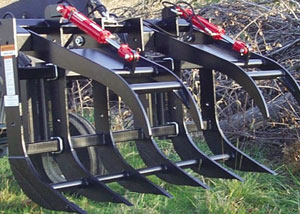Split-top grapple rakes for skid steers and tractor loaders.