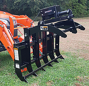 Electric Sub-Compact Grapple from Worksaver requires no auxiliary hydraulics.