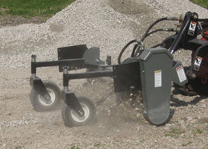 10 Series powered landscape rakes for mini/compact skid steers.