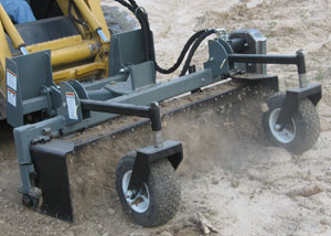 Powered landscape rakes prep, smooth, set grade, level, till and remove rocks