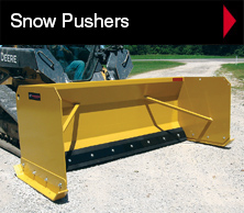 Worksaver snow pushers for front loaders and skid steers.