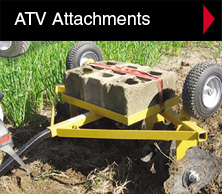 Worksaver ATV attachments include landscape rakes, flip-over disc and flip-over culti-packer.