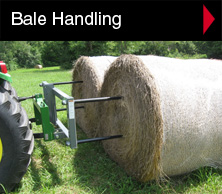 Worksaver bale handling equipment includes bale spears, bale unroller and handler, front loader attachments, bale clamping attachments, skid steer bale attachments, bucket bale attachments, integrated-frame bale spears and bale spin-off.