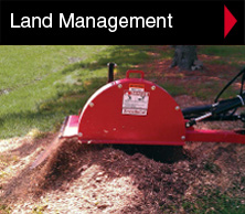 Worksaver land management equipment includes rotary brooms, snow blades, snow pushers, stump grinders, grader blade, hydraulic mixer, landscape rakes and box scrapers.