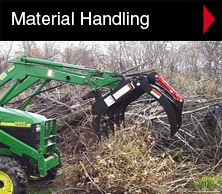 Worksaver material handling attachments include rock grapples, tine grapples, grapple rakes, brush grapples, scrap buckets, manure forks, pallet forks, bucket forks and crane boom.