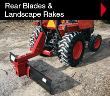 Worksaver rear blades and landscape rakes 3 pt. mounted attachments.